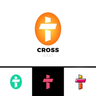 Christian cross logo em estilo simples e limpo. logotipo da igreja