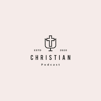 Christian podcast logo hipster retro vintage for christianity blog video canal de vlog