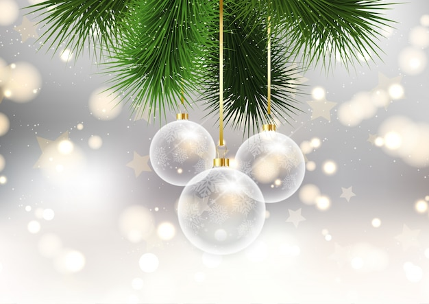 \ christmas baubles on bokeh lights background