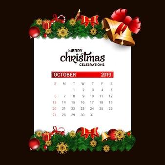 Christmas bell 2019 outubro calendário