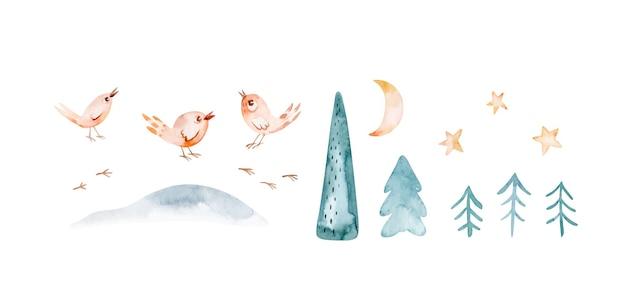 Christmas clipart de ilustração bonito dos desenhos animados com personagens, animais e símbolos de férias de inverno diferentes. conceito de design de texturas desenhadas à mão