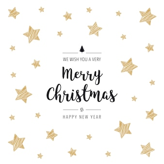 Christmas scribble stars cartão dourado saudação texto isolado fundo branco