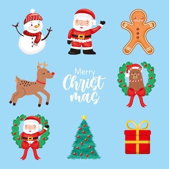 Christmas set cartoon com papai noel e personagens