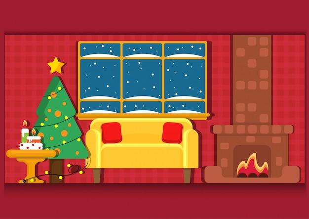 Christmast vista interior com fogueira