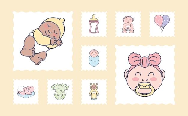 Chupeta e roupas para bebês