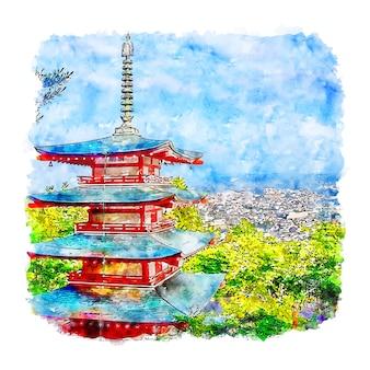 Chureito pagoda japão ilustração em aquarela de esboço desenhado à mão