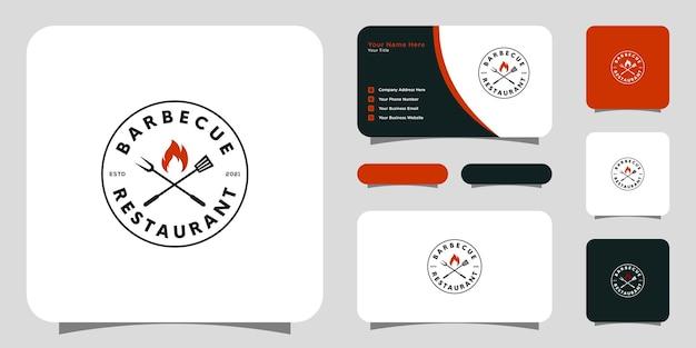 Churrasco com logotipo de garfo e chama de fogo e cartão de visita
