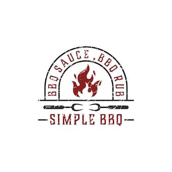 Churrasco de campo retrô vintage grill, design de logotipo de carimbo de etiqueta