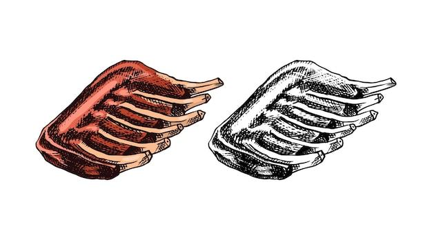 Churrasco de carne grelhada com churrasco de porco ou costela de boi em modelos de estilo vintage