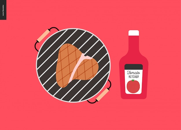Churrasco de carne grelhada e ketchup