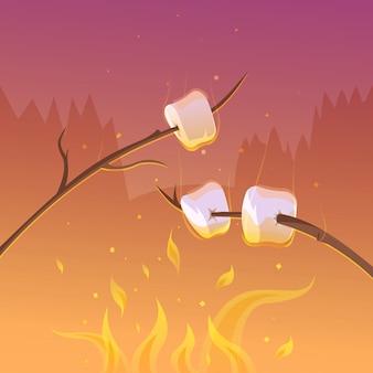 Churrasco e caminhadas no fundo de desenhos animados à noite com paus e ilustração vetorial de fogo