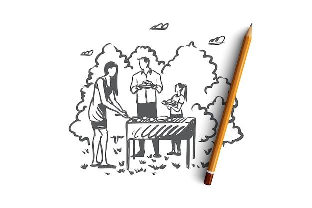 Churrasco, família, grelha, churrasco, conceito de comida. tempo para a família desenhada de mão e esboço do conceito ao ar livre para churrasco. ilustração.
