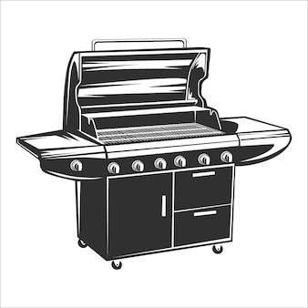 Churrasco grill vintage logotipo isolado na ilustração vetorial branco.