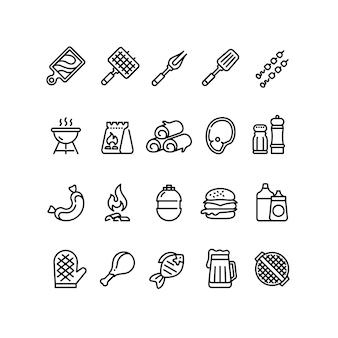 Churrasco quente e ícones de linha de grelha
