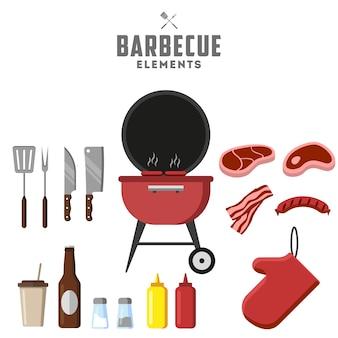 Churrasqueira e comida grelhada, ferramentas. carne, bife e linguiça.