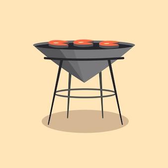 Churrasqueira ou churrasqueira. cozinha de acampamento de piquenique.
