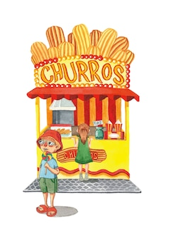 Churros quiosque verão menino e menina comida de rua ilustração em aquarela