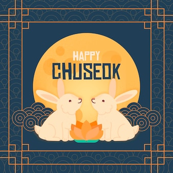 Chuseok desenhado à mão