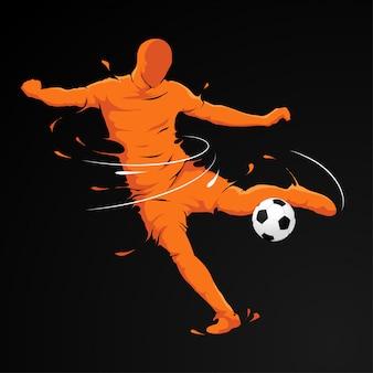 Chute de jogador de futebol
