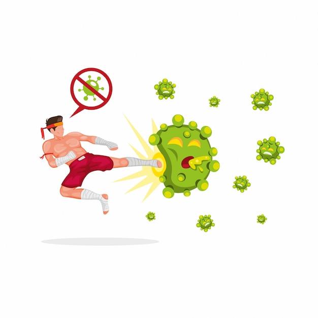 Chute de mosca boxer na ilustração de símbolo de vírus corona