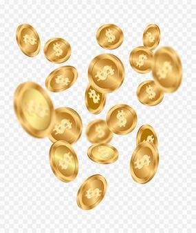 Chuva de moedas de ouro. dinheiro voador.
