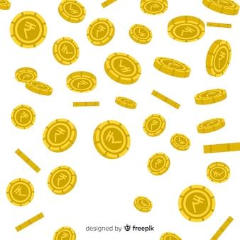 Chuva de moedas de rupia indiana