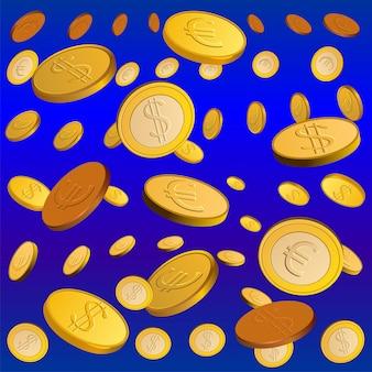 Chuva dourada de moedas. conceito de dinheiro
