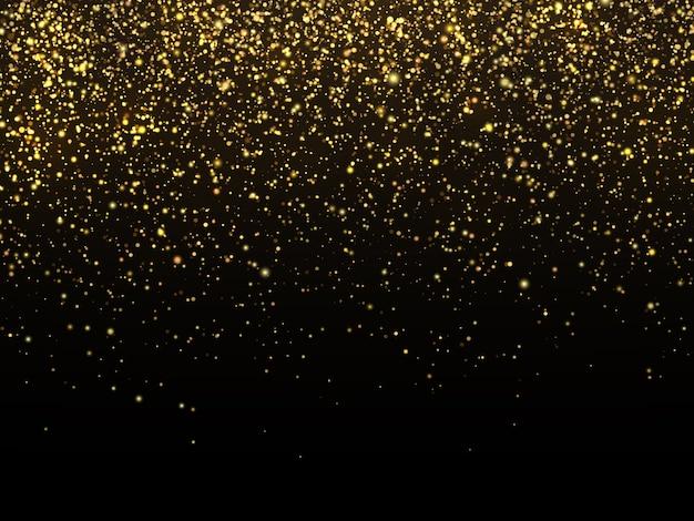 Chuva dourada isolada no fundo preto. papel de parede comemorativo da textura do grão do ouro do vetor