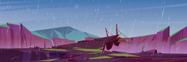 Chuva nas montanhas com ponte pênsil
