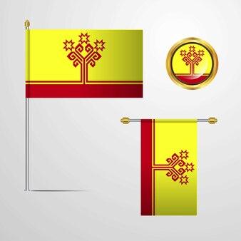 Chuváchia, acenando com design de bandeira com vetor distintivo