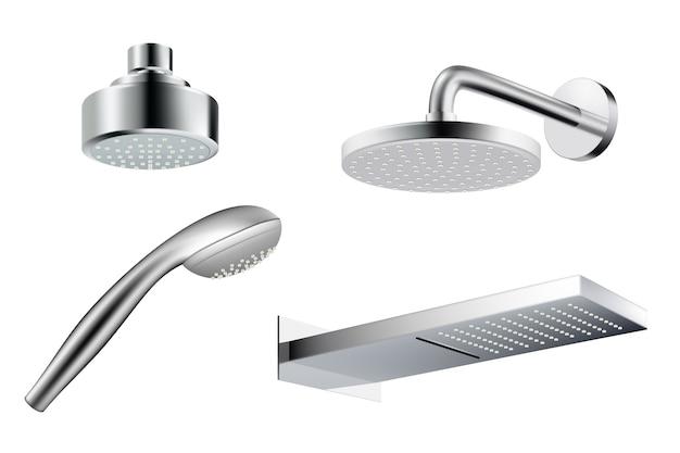 Chuveiro realista. imagens de vetor de respingos de água de modelo de chuveiro metálico isoladas. ilustração realista chuveiro banheiro, mangueira para ducha