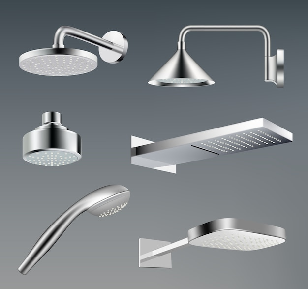 Chuveiros. acessórios metálicos para modelo realista de vetor de chuveiro de água do banheiro. ilustração realista banheiro cromado chuveiro de metal