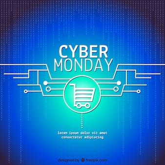Ciber segunda-feira azul fundo