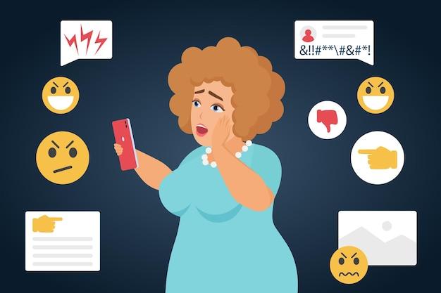 Ciberbullying, triste e intimidada personagem de mulher gorda em mídia social online