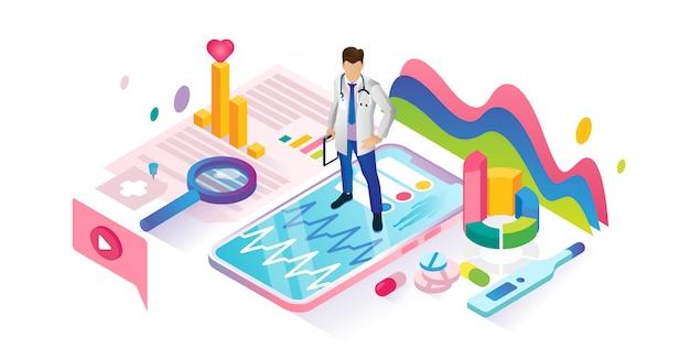 Ciberespaço isométrico de aplicativo de saúde com médico