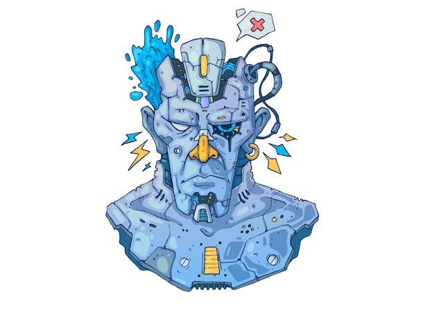 Ciborgue brutal, retrato cyberpunk. ilustração criativa dos desenhos animados.