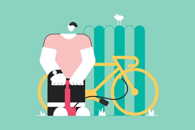 Ciclismo, reparação, esporte, atividade, conceito de trabalho
