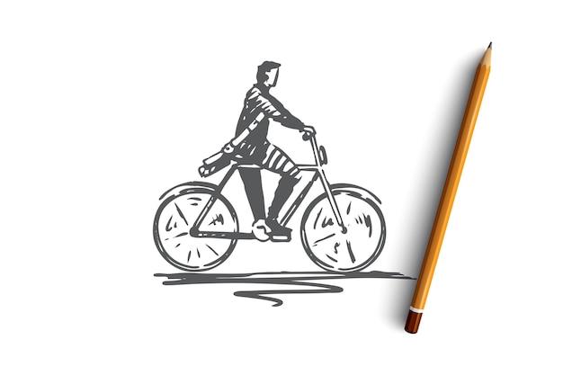 Ciclista, bicicleta, bicicleta, pessoa, conceito de ação. mão desenhada pessoa ciclismo esboço de conceito ao ar livre. ilustração.