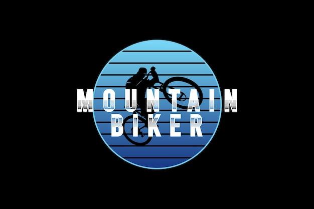 Ciclista de montanha, tipografia de maquete de silhueta