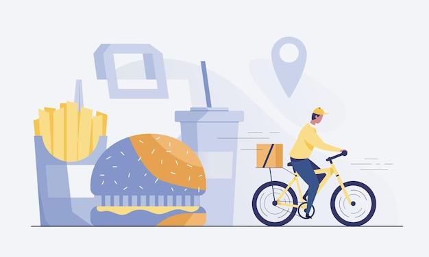 Ciclista entregando comida aos clientes. fast food como um hambúrguer. ilustração vetorial