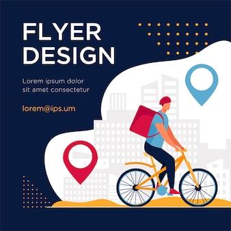 Ciclista entregando comida para clientes na cidade. pin, rota, modelo de folheto plano de cidade