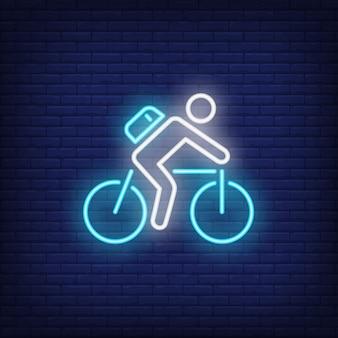 Ciclista, montando, bicicleta, sinal néon