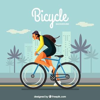 Ciclista na cidade com design plano
