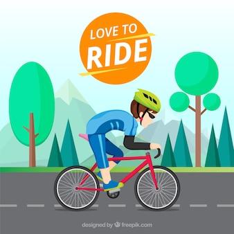 Ciclista profissional com design plano
