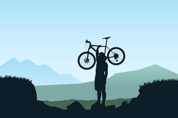 Ciclista transportar bicicleta