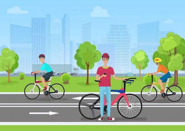 Ciclistas no parque público da cidade