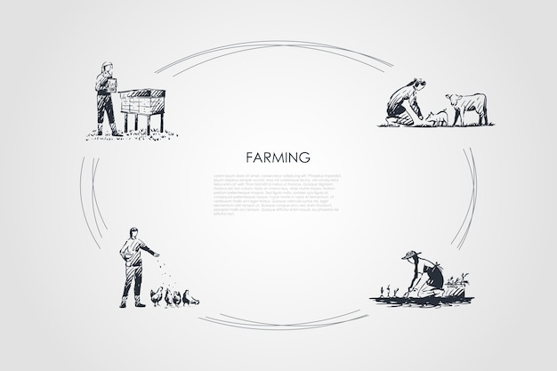 Ciclo de agricultura desenhado à mão