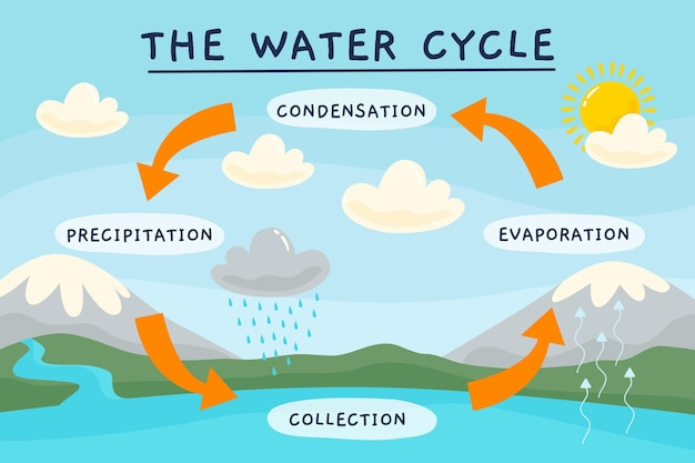 Ciclo de água desenhado à mão