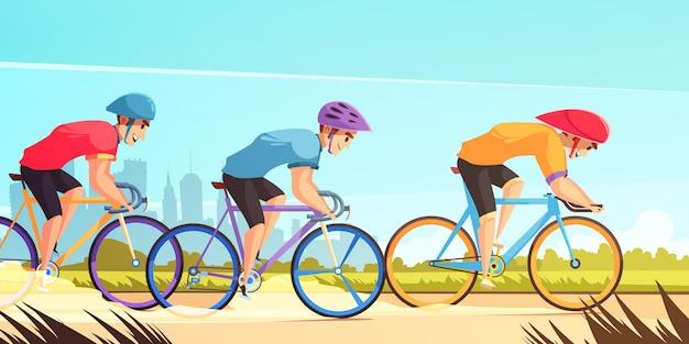 Ciclo de corrida competitiva dos desenhos animados