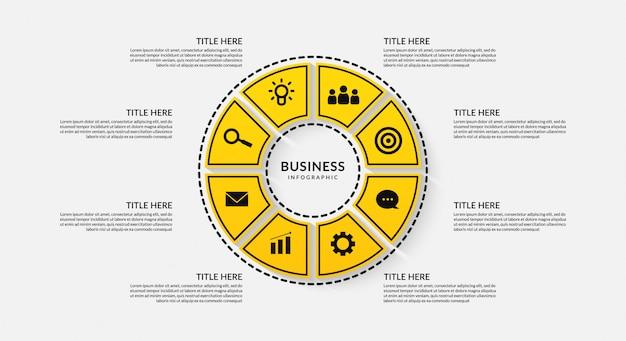 Ciclo de infográfico com oito opcionais, comunicação de dados de estrutura de tópicos para relatório de negócios